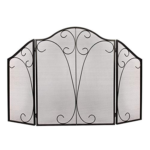 n 3 Panel Ornate Wrought Iron Black Metal Fire Place Standing Gate ()