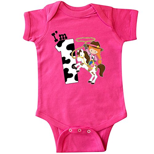 Redhead Infant Diaper (inktastic I'm One-Cowgirl Riding Horse Infant Creeper 12 Months Hot Pink)