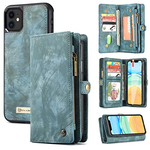 [해외]iPhone 11 Wallet CaseZttopo 2 in 1 Leather Zipper Detachable Magnetic 11 Card Slots Card Slots Money Pocket Clutch Cover with Free Screen Protector for 6.1 Inch iPhone Case (Blue-Green) / iPhone 11 Wallet Case,Zttopo 2 in 1 Leather...
