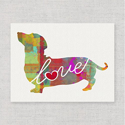 Dachshund Love - A Modern & Whimsical Dog Breed Watercolor-Style Wall Art Print / Poster on Fine Art Paper. Unframed & Can be (Dachshund Wall)