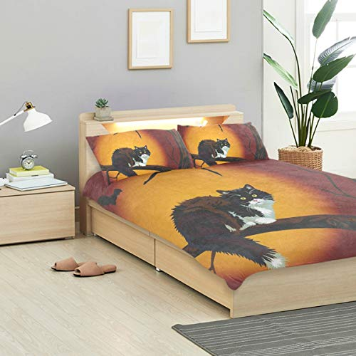 IDO Black Cat On Halloween Night Kids Bedding Comforter Cover Sets Ultra Soft Crystal Velvet Cotton Satin Hotel Collection-Decorative 3 Piece Bedding Set with 2 Pillow Shams, -