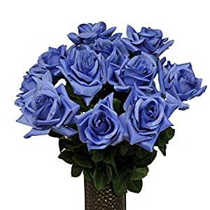 Dark Blue Diamond Rose Artificial Bouquet, featuring the Stay-In-The-Vase Design(c) Flower Holder (MD1342) 109
