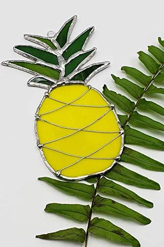 - Handmade Stained Glass Pineapple Fruit Ornament Suncatcher Tropical Island Art