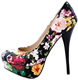 Bamboo Shoes Womens Corona-11X Almond Toe Stiletto Heel Pumps with Flower Design