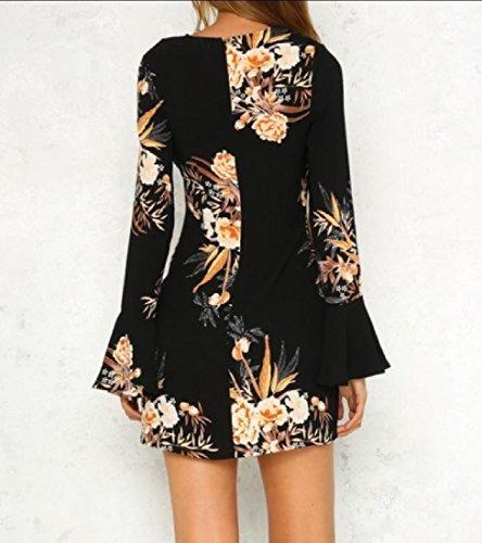 Elegant Party Comfy Dress Black Trumpet Women Bodycon Floral Sleeve Business ZAAHqw5