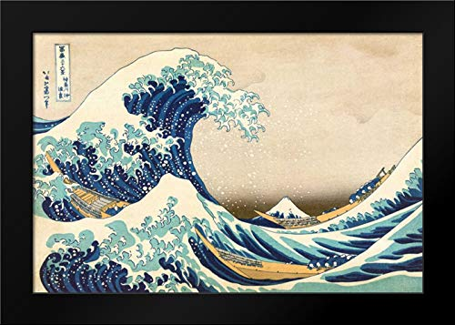 - The Great Wave Off Kanagawa 24x17 Framed Art Print by Hokusai, Katsushika