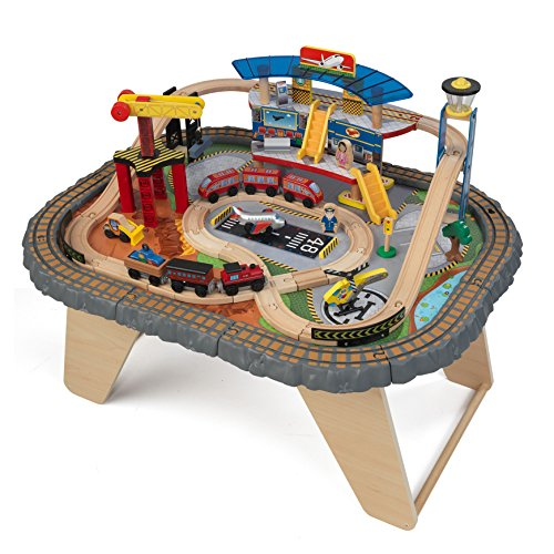 KidKraft 17564.0 Transportation Station Train Set and Table Toy (Kidkraft Wooden Waterfall Mountain Train Table And Set)
