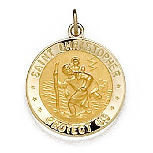 14k Yellow Gold Round St. Christopher U.S. Marine Corps Medal (18 MM)