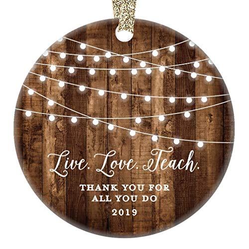 Teacher Gifts 2019 Ornament Live Love Teach Thank You Favorite Man Woman Teacher Christmas Birthday Present Tutor Professor from Student 3