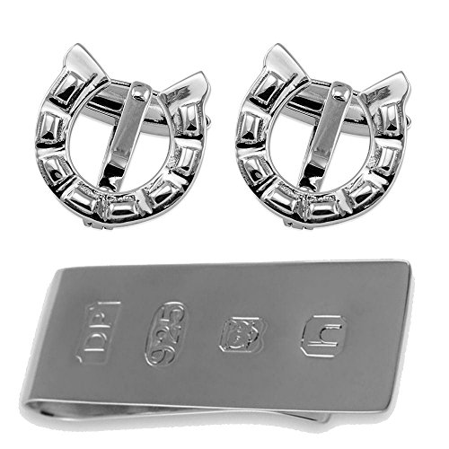 Sterling Silver Horse Shoe Cufflinks James Bond Money Clip Box Set from Select Gifts