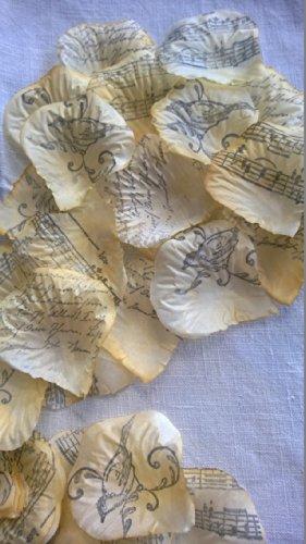 Wedding Flower Petals French Script, Bird, Music [YELLOW] by Burlap And Bling Design Studio