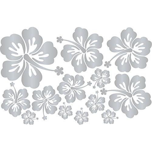 Lot de 13 stickers hibiscus couleur argenté