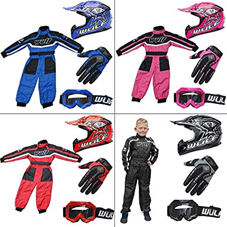 Wulf Wulfsport Kids Flite Motocross Helmet Black S (47-48cm) Attack Gloves XXXS (5cm) + Cub Abstract Goggles + Kids Camo Suit S (5-6Yrs)