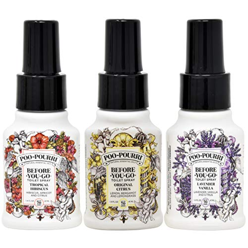 Poo Pourri Original Citrus, Lavender Vanilla, and Tropical Hibiscus 1.4 Ounce Set, Bottle Tag Included ()