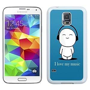 Beautiful Unique Designed Samsung Galaxy S5 I9600 G900a G900v G900p G900t G900w Phone Case With I Love My Music Cartoon_White Phone Case