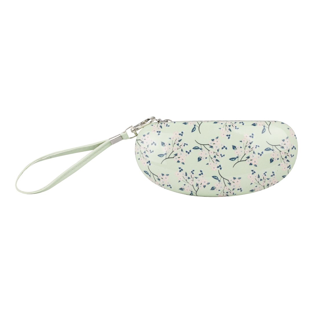 Ellen Tracy Hard Clam Sunglasses Case w/Strap (See More Colors and Designs) (Mint/Floral) by Ellen Tracy