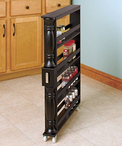 Side Refrigerator Cabinet Side By - Black Wooden Spice Seasoning Can Rack Slim Rolling Cart Space Saver Organizer Shelf Storage Kitchen Organization Fits Between Cabinets and Refrigerator by KNL Store