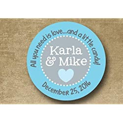 Personalized Wedding Stickers Custom Wedding Labels Wedding Favor Stickers Turquoise Aqua Light Blue Candy Buffet Stickers