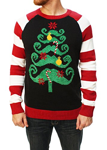 Ugly Christmas Sweater Men's Mustache Christmas Tree Sweater-Large black (Ugly Xmas Sweaters For Men)