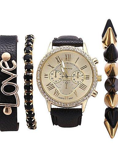 Las mujeres de la moda pulsera relojes mis remaches preciosas cartas de amor mujer relojes idea de regalo 4pcs/set, Black: Amazon.es: Relojes