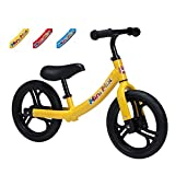 Mini Mix Balance Bike - Lightweight Aluminum Bicycle (5.95lb) with Adjustable Padded Seats & Handlebar with No Flat Tires for Kids & Toddlers from Ages 1.5 years (Yellow)