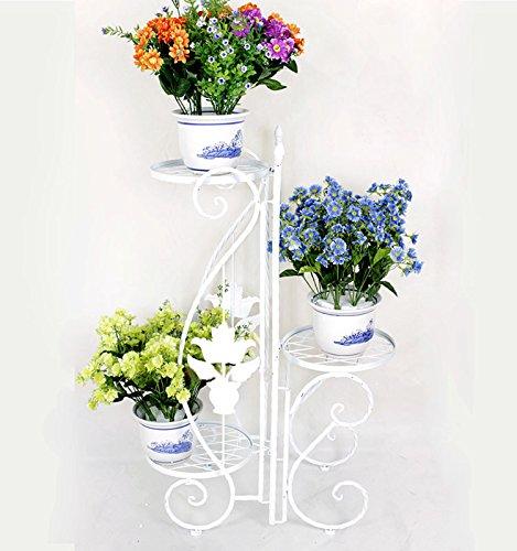 Metallgestell für 3 Pflanzgefäße, für Innenbereich und Garten, für Kräuter und Blumen, mit Ornamenten verziert, einklappbar, Weiß
