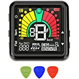 Clip on Guitar Tuner, 2 in 1 USB Rechargeable Tuner Metronome for Guitar Bass Banjo Violin Ukulele,360° Rotate Clear LCD Colorful Display,with 3 Pcs Guitar Picks
