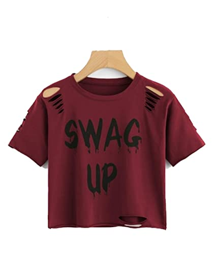 Vitans Women Gesture Print Distressed Crop T-Shirt (Maroon Half Sleeves e64363bec310