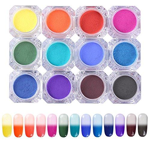 NICOLE DIARY Thermal Chrome Pigment Temperature Color Change Powder Manicure Nail Art Gradient Powder 13 Colors (Pigment Colour)