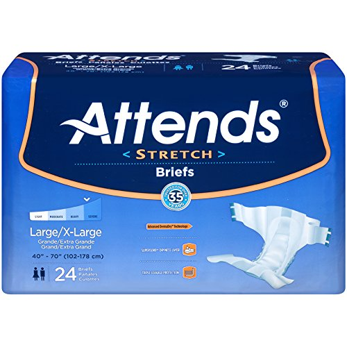 Amazon.com: Attends Stretch Briefs with Advanced Dry-Lock Technology for Adult Incontinence Care, Medium/Regular, Unisex , 96 Count: Health & Personal Care