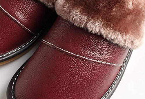 D'hiver Rouge 38 Similicuir Vin Antidérapant Rouge Femmes Taille En Cuir Doux coloré Pantoufles Fuxitoggo Pour fwO8PZq