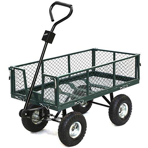 Nursery Wagon Garden Cart (Steel Heavy Duty Utility Wagon Wheelbarrow Lawn Cart Yard Crate Garden)