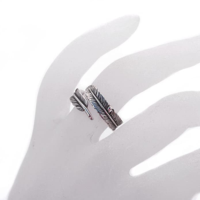 Sterling Silver Adjustable Feather Ring Band L to R (R006) RfCSrJ0mo1