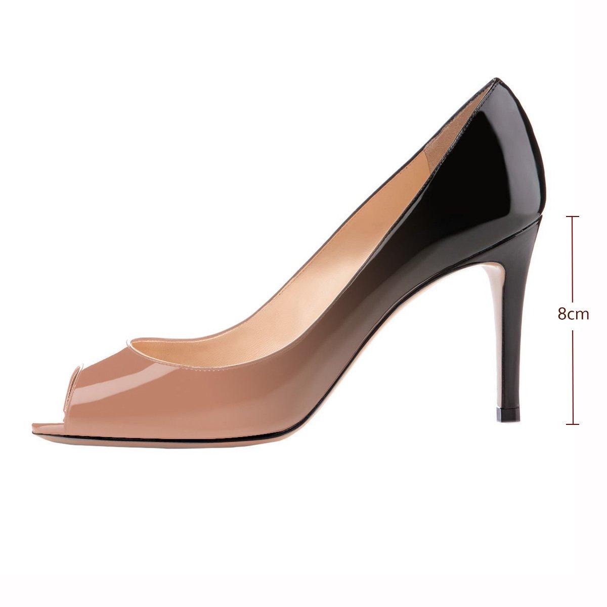 Eldof Women Peep Toe Pumps Mid-Heel Pumps Formal Wedding Bridal Classic Heel Open Toe Stiletto B07F8LTHZ2 9 B(M) US|Beige-black