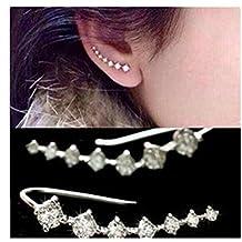 Pixel Jewelry 1985 - Fashion Womens Silver Crystal Rhinestone Stud Earrings Ear Hook Jewelry