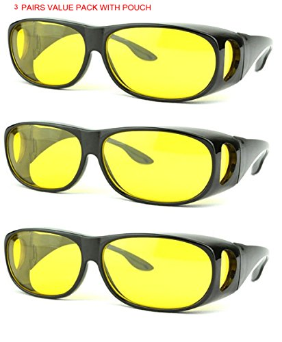 SOOLALA 3 Pairs Value Pack HD Night Vision Wraparounds Wrap Around Windproof - Low Price Sunglass
