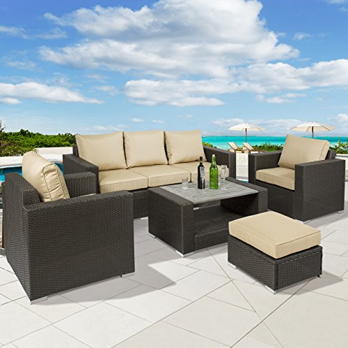 Best Choice Products 7pc Outdoor Patio Sectional PE Wicker Furniture Sofa Set- Taupe
