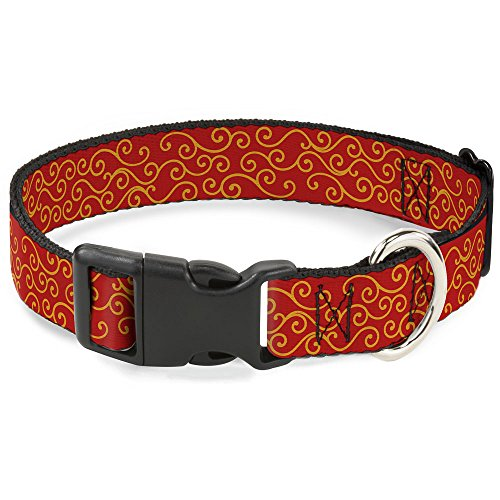 Trim Swirl (Buckle-Down Plastic Clip Collar - Holiday Trim Swirls Red/Gold - 1.5
