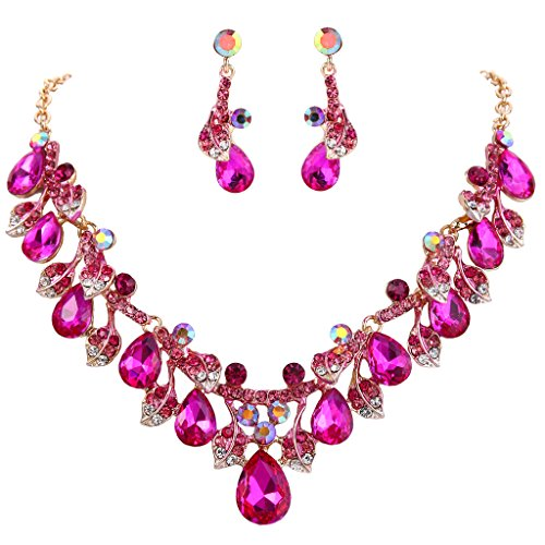 [BriLove Women's Wedding Bridal Crystal Teardrop Cluster Leaf Vine Statement Necklace Dangle Earrings Fuchsia Gold-Tone] (Austrian Costume Jewelry)