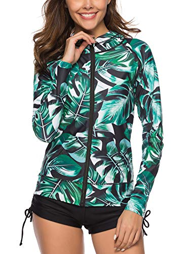 Caracilia Women's UPF 50+ Full Zip Front Long Sleeve Top Rashguard Hoodie Swimsuit F33-XXL CA106