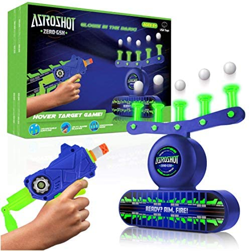 USA Toyz AstroShot Zero GSX Glow in The Dark Shooting Games – Compatible Nerf Target, Floating Ball Shooting Game for Kids with Foam Dart Toy Gun, 10 Floating Ball Targets, and 5 Flip Targets