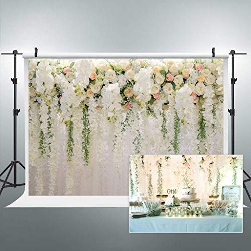Cdcurtain Bridal Floral Wall Backdrop Wedding Rose 8x6ft Reception Ceremony Photography Background Photo Birthday Party Dessert Table Photo Shoot Backdrop Blush Vinyl Cloth
