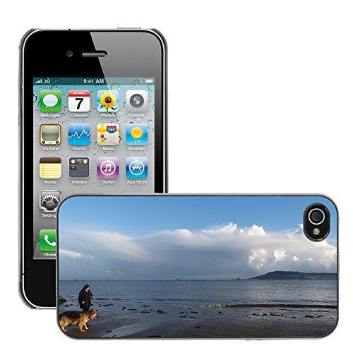 Bild Hart Handy Schwarz Schutz Case Cover Schale Etui // M00133960 Portland Dorset Hund Küstenlandschaft // Apple iPhone 4 4S 4G