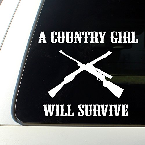 A Country Girl Will Surive cowgirl Car Decal Bumper Sticker horse love truck mud and guns (Country Bumper Stickers compare prices)