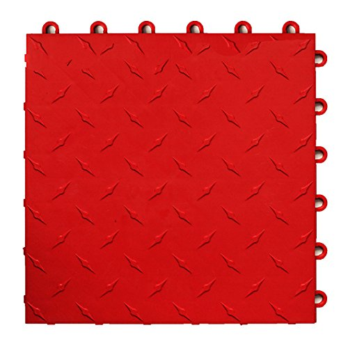 Red Floor Tiles (Speedway Garage Tile 789453O-50 Diamond Garage Floor 6 LOCK Diamond Tile 50)