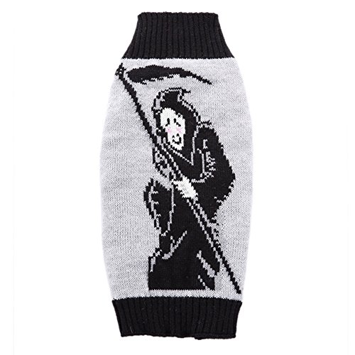 Zerotone Halloween Series Death Pattern Warm Turtleneck Sweater for Pet Dog Cat Small Animaux M