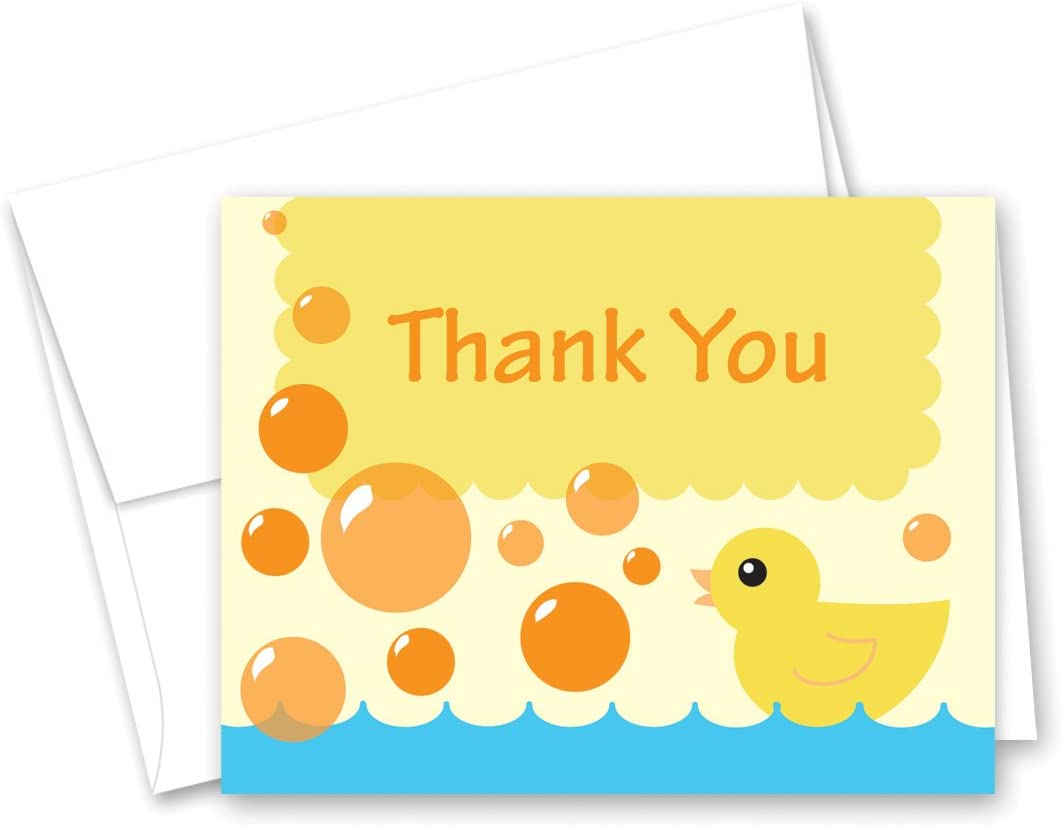 50 CNT 옐로우 오리 거품 목욕 베이비 샤워 감사 카드