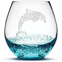 Dolphin Stemless Wine Glass, Bubbly Turquoise, Handblown, Tribal Design, Hand Etched Gifts, Sand Carved by Integrity Bottles