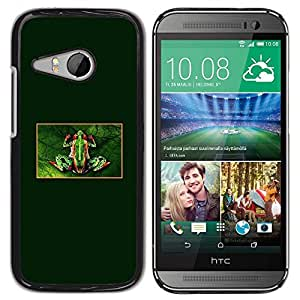 Be Good Phone Accessory // Dura Cáscara cubierta Protectora Caso Carcasa Funda de Protección para HTC ONE MINI 2 / M8 MINI // Tiny Frog Forest Green Rainforest