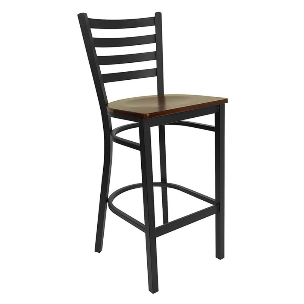 Amazon com flash furniture 29 in hercules ladder back restaurant wood seat bar stool black kitchen dining